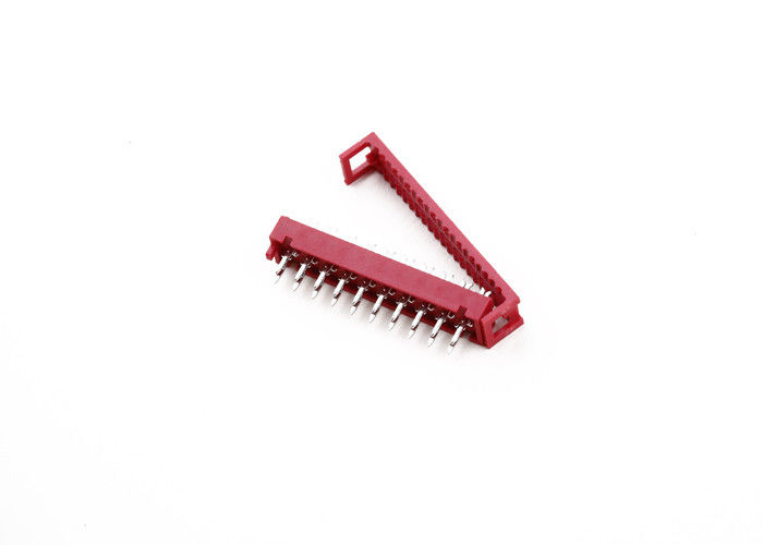 Red 12 Pin Ribbon Cable Connector , Flat Ribbon Cable Connectors PBT Material