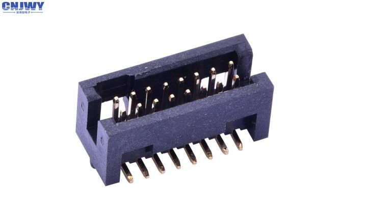 1.27 Mm PCB  14 Pin Box Header Connector Surface Mount Nylon 6T Black