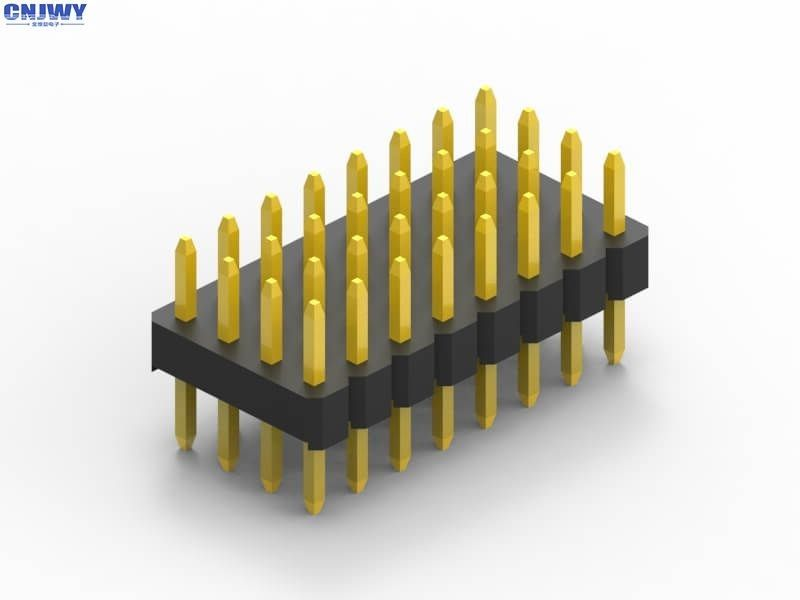 Three Rows 5U PCB Header Connector DIP Type Gold Flash  Black Insulation
